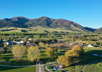 Aerial photo of Story Mill Park next to Bridger View